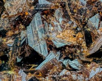 Sparkling Golden Brown Jarosite Crystal Druse Covering Barite Matrix With Metallic Hematite
