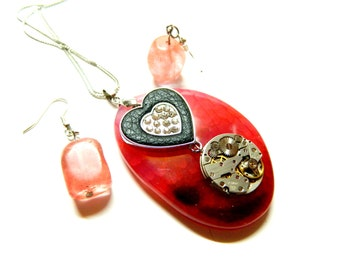 """Semiprecious stone red agate, Steampunk jewelry necklace """"Cherry orchard"""", silver with black leather & crystals heart, simple earrings gift"""