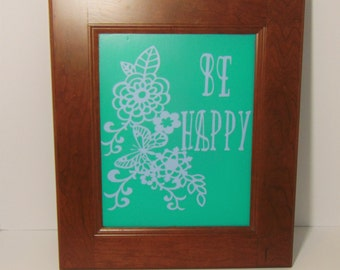 Recycled Cabinet Door Be Happy Sign, Be Happy Wall Decor