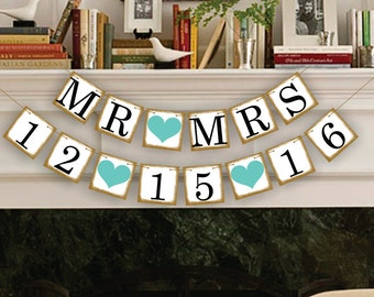 Wedding Banner Save The Date Banner Wedding Date Banners- Wedding Sign- Mr Mrs Banners Photo Prop Signs - Date Garland Decoration