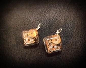 "Steampunk earrings ""Square"""