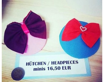 tiny, little headpiece, mini-hat, bibi with bow in 2 variations!