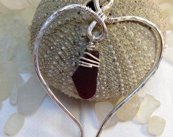 Sea glass jewelry, Beautiful sterling silver heart with a small rare red Maine sea glass charm necklace.