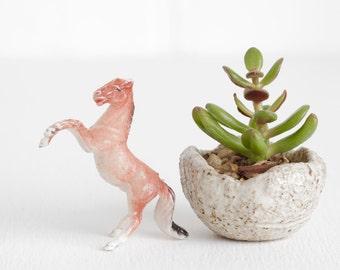 Vintage Miniature Rearing Horse, Tiny Horse Toy for Terrarium Miniature or Shadowbox