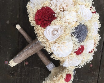 Romantic, Red, Gray and Ivory Sola Flower Bridal Bouquet