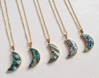 Crescent Moon Abalone Shell Necklace