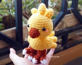 FREE SHIPPING Chibi Chocobo Made-to-order Crochet Amigurumi, Chocobo plush toy