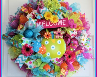 Welcome Owl Wreath – Colorful Spring Wreath – Floral Deco Mesh Wreath – Summer Wreath