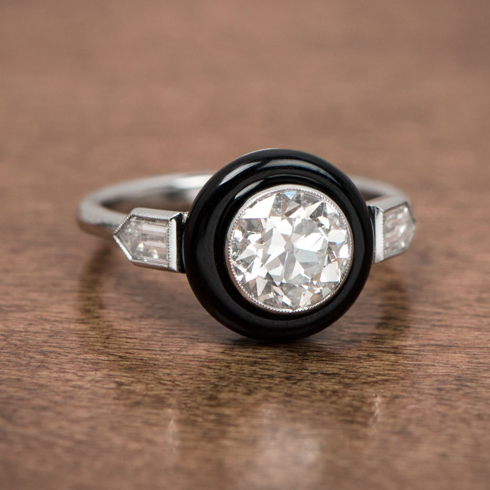 Art Deco Style Onyx And Diamond Engagement Ring