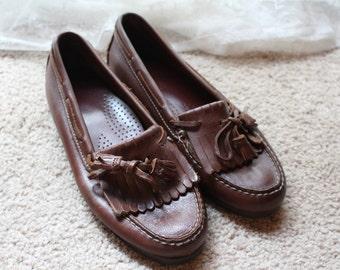Vintage Brown Leather Tassel Loafers size 8.5