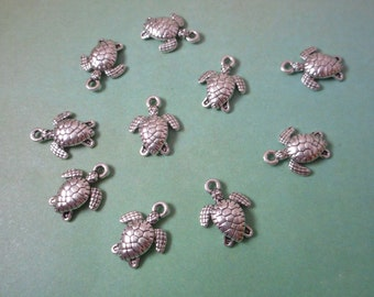 10 Sea Turtle Charms, Sea Creature,Sea Turtle Charms,Water Turtle, Turtle,Water Creature,Reptile,Water Reptile,Bracelet Charm,Turtle Pendant