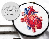 Cross stitch kit modern HALLOWEEN HEART complete craft kit with fabric yarn needle wood embroidery hoop cross stich pattern anatomy heart