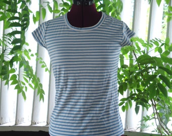 70s Nautical Blue White Striped Short Sleeves Pull Over T-Shirt Top S M