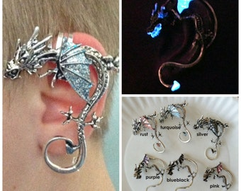Dragon Ear Cuff, inspired by Game of Thrones Glow Dragon Cuff for Non-Pierced Left Ear Glows In The Dark