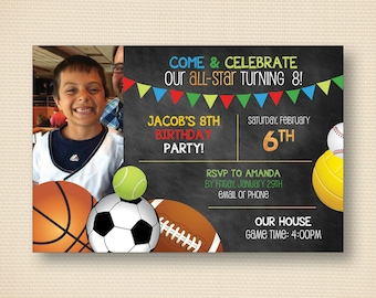 Sports All Star Birthday Invite - 7x5