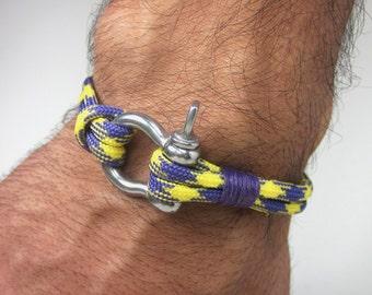 EXPRESS SHIPPING Paracord Bracelet- Survival Bracelet / Nautical Sailing Bracelet Stainless steel Shackle-Mens Bracelet-Neon Yellow Purple
