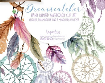 Dreamcatcher Watercolor clipart, feathers, PNG, boho chic, bridal shower, for blog banner, graphic design, for nursery, prints, quotes