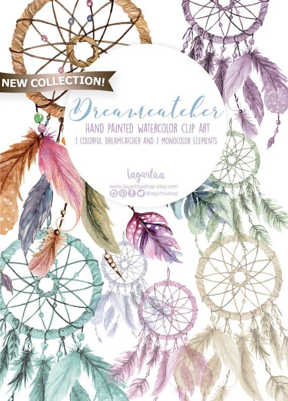 Atrapasueños Acuarela con plumas de colores Clipart PNG