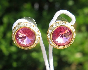 Vintage Earrings For Pierced Ears With Pink Rivoli Centre And Channel Set Rhinestones