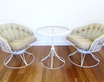Vintage Homecrest Patio Table and 2 Chairs, Swivels and Rocks, Mid Century Patio Set, MCM Tulip Table and Chairs