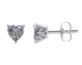 Moissanite Stud Earrings Heart Earrings Fine Jewelry 14K White Gold Earrings Charles and Colvard Forever Brilliant Gems Nice Gifts - V1143