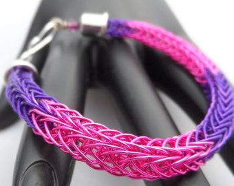 Bright Purple and Pink Viking Knit Bracelet