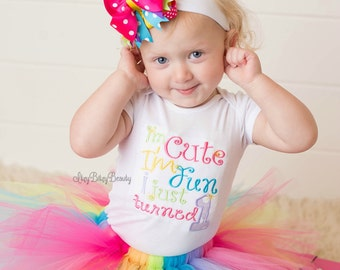 Rainbow first birthday TUTU outfit I'm cute I'm fun i just turned one 1 embroidered set OTT hair bow headband