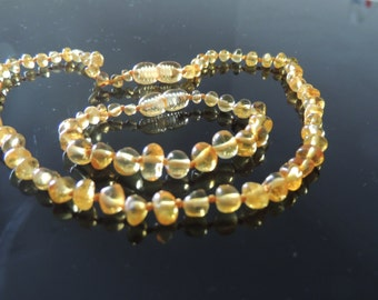 Beautiful Baltic Amber Teething Bracelet & Necklace Set Lemon Colour
