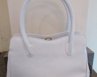 Vintage 'Jane Shilton' White 1980's PVC Handbag - Very Retro!!!