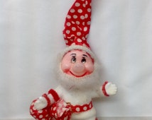 Vintage Plastic Face Santa Claus Elf Ornament Red White Polkadot Hat Sack White Outfit Christmas Holiday Decoration Tree