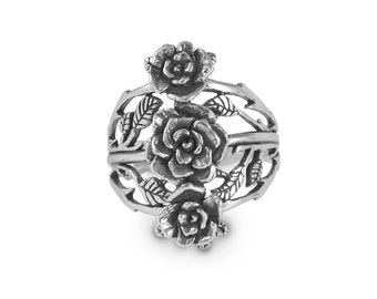 Triple Mini Rose Ring, Rose Ring, Handmade, Sterling Silver Ring, Triple Rose Ring