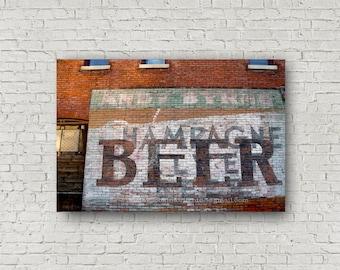 Beer Advertising Photo, Vintage Beer Ad, Indiana vintage, Red Brick Wall, Beer advertisement, Midwestern Building Ad, Vintage Midwest ad