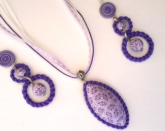 Polymer Clay Set, Abstract Necklace and Earrings