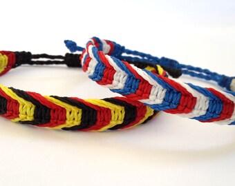 Flag Colors Macrame Bracelet, France Flag Bracelet, Germany Flag Bracelet