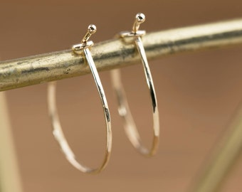 14k gold, rose gold, white gold hoop earrings, hammered textured wire, classic hoop earrings, mini hoop, gol-e101-6cm, RTS