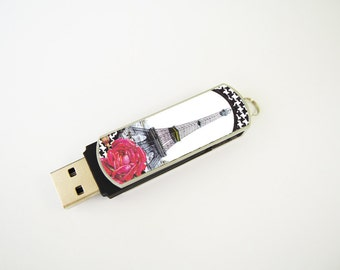 Eiffel Tower with Rose USB Flash Drive 8GB, Personalized Flash Drive, Thumb Drive