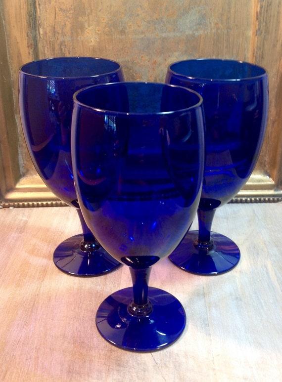 Vintage Blue Cobalt Glass 3 Short Stemmed Water Wine Goblets