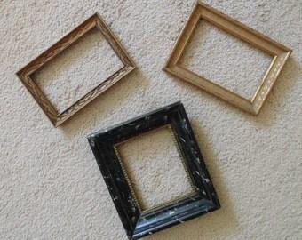 3 Vintage Miniature Wood Picture Frames for Paintings Photos Prints Photographs