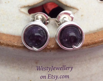 Lepidolite Wire Wrapped Studs Purple Lepidolite Studs Purple Lepidolite Earrings Purple Studs Lepidolite Genuine Gemstone Earrings Handmade