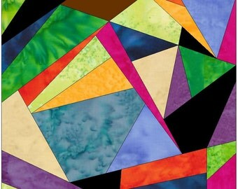 Complex Crazy Patch 10 Paper Foundation Piece Quilting Block Pattern PDF