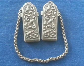 Vintage Sterling Cloak Clips, Victorian Cloak Clips, Holland