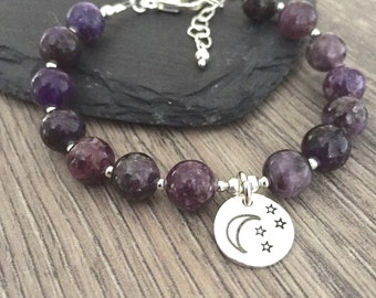 Lepidolite Bracelet, Moon and Star Bracelet, Moon Bracelet, Gemstone Bracelet, Sterling Silver Bracelet, Purple Bracelet, new