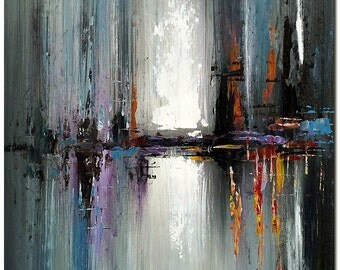 City in the Distance - Signed Hand Painted Modern Abstract Cityscape Painting On Canvas