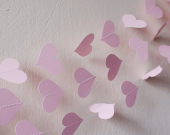 Pink Paper Heart Garland , Pink Weddig garland, Flamingo party ,Pink baby shower decor, nursery decor, Girl Birthday Party