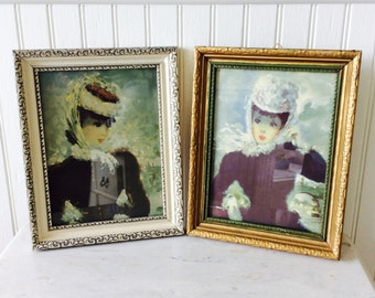 Vintage Pair of Framed Art, French Women, Ornate Frames, French / Paris Decor, Wall Decor, Cottage, Hollywood Regency, Victorian Decor