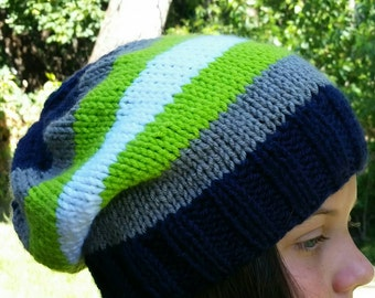 Slouchy Hat, Slouch style Beanie, Hand Knit Slouchy Hat, Neon Green slouch Hat, Blue Hat, Grey slouchy Beanie, Slouchy Snowboarding hat