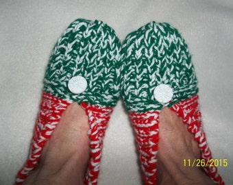 Christmas Hand Knitted Women's Slippers-Size 9.5