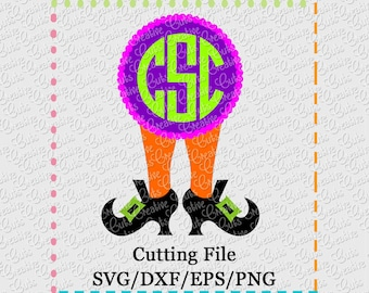 EXCLUSIVE SVG eps  DXF Witch Legs Monogram svg witch svg halloween svg witch boot svg witch legs svg witch shoes svg witch boot monogram svg