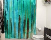 Beach Fence Printed Shower Curtain, Bathroom Decor, Home, Stripes, Abstract Art, Modern Art, Painting, Turquoise Art, Turquoise Decor, Aqua