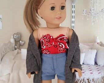 18 inch doll grey cardigan